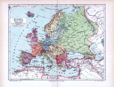 Farbig illustrierte politische Übersichtskarte von Europa aus 1893 im Maßstab 1 zu 25 Millionen.