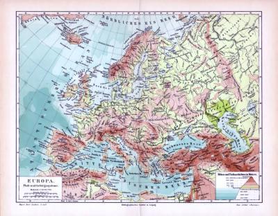 Topografische Landkarte von Europa in Farbe aus 1893.