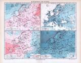 4 farbig illustrierte Klimakarten zu Europa aus 1893.