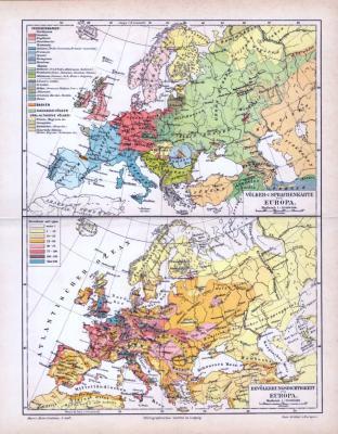 Farbig illustrierte Landkarten von Europa zur Bevölkerungsdichte und Sprachenverteilung aus 1893.