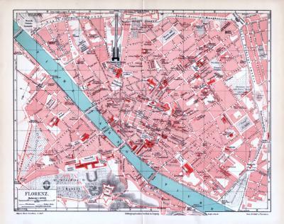 Farbig illustrierter Stadtplan von Florenz aus dem jahr 1893 im maßstab 1 zu 10.800.