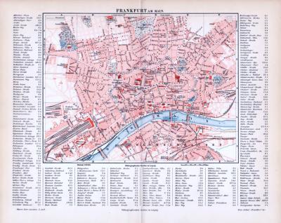 Farbig illustrierter Stadtplan von Frankfurt am Main mit Straßenverzeichnis im Maßstab von 1 zu 20.000 aus dem Jahr 1893.