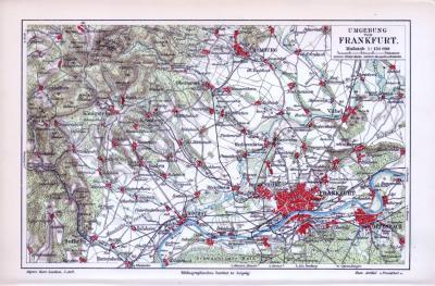 Farbig illustrierte Umgebungskarte von Frankfurt aus Main aus dem Jahr 1893.