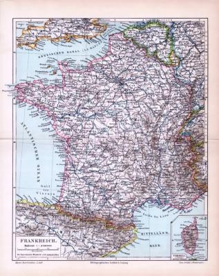 Farbig illustrierte Landkarte von Frankreich aus dem Jahr 1893 im Maßstab 1 zu 4.500.000.