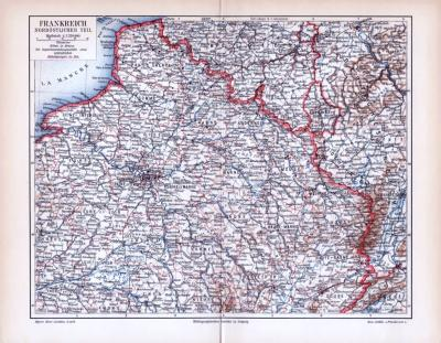 Farbig illustrierte Landkarte des nördlichen Teils Frankreich aus dem Jahr 1893 im Maßstab 1 zu 2.250.000.