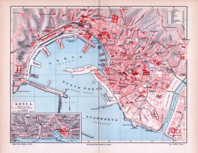 Farbig illustrierter Stadtplan von Genua aus 1893 im Maßstab 1 zu 13.300. Ausschnitt zeigt die Umgebung von Genua im Maßstab 1 zu 125.000.