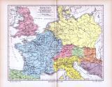 Historische farbig illustrierte Landkarte von Germanien...