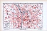Farbig illustrierter Stadtplan von Graz aus 1893 im Maßstab 1 zu 21.300.