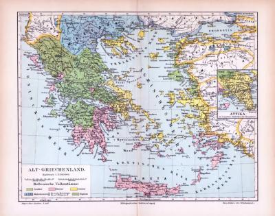 Farbig illustrierte Landkarte zeigt die Verteilung der hellenischen Volksstämme zu Zeiten der Antike. Maßstab 1 zu 3.500.000.