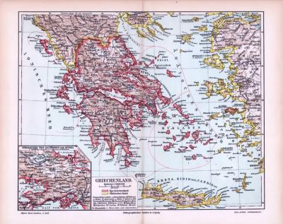 Farbig illustrierte Landkarte von Griechenland aus dem Jahr 1893, zeigt Besitzungen des Königreichs Griechenlands und des Türkischen Reiches. Maßstab 1 zu 3.000.000. Ausschnittskarte zeigt den nördlichen teil von Böotien udn Attika.