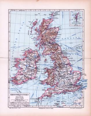 Farbig illustrierte Landkarte von Großbritannien und Irland aus dem Jahr 1893 im Maßstab 1 zu 4.500.000 Millionen. Ausschnitt zeigt die Shetland Inseln.