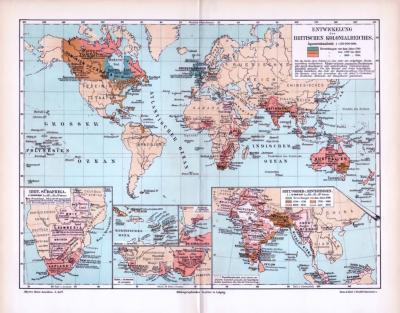 Farbig illustrierte Weltkarte aus 1893 zeigt die Entwicklung des Britischen Kolonialreiches im Maßstab 1 zu 150 Millionen. Ausschnittskarten zeigen Südafrika, Karibik, Somali, Niger und Indien.