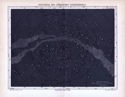 Illustration aus 1893 zeigt die Fixsterne des nördlichen Sternenhimmels.