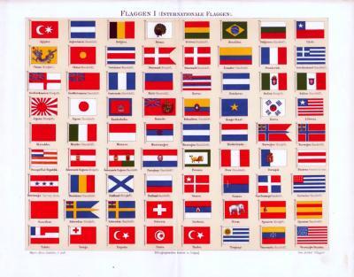 Chromolithographie aus 1893 mit 72 Flaggen von Nationalstaaten.