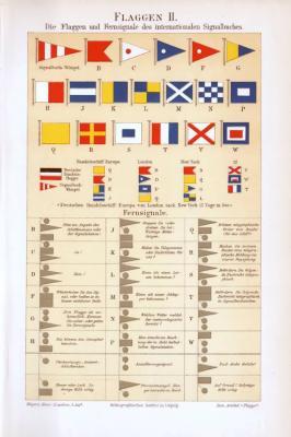 Chromolithographie aus 1893 zeigt Flaggen und Fernsignale aus dem internationalen Signalbuch.