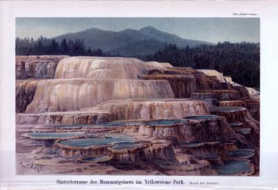 Chromolithographie aus 1893 zeigt die Sinterterasse des Mammutgeisers im Yellowstone Park.