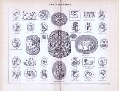 Stich aus 1893 mit 33 Abbildungen von Gemmen und Kameen.
