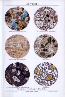 Chromolithographie aus 1893 zeigt Schnitte von 6 Gesteinssorten.