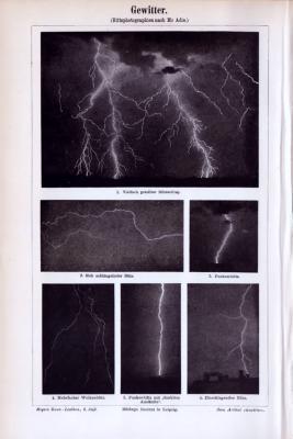 Druck aus 1893 zeigt Fotografien verschiedener Gewitterblitzformen.