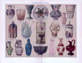 Chromolithographie aus 1893 zum Thema Glaskunst, zeigt Objekte aus diversen Epochen und Einsatzgebieten.