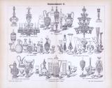 Lithographie aus 1893 zum Thema Glaskunstindustrie zeigt verschiedene Objekte aus 8 Stilrichtungen.