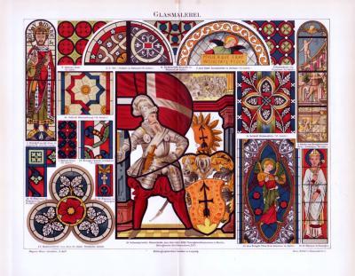 Chromolithographie aus 1893 zum Thema Glasmalerei zeigt verschiedene Darstellungen aus christlichem und feudalem Raum.