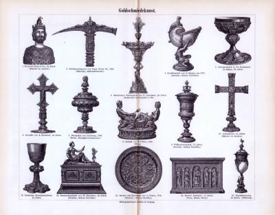 Der Stich aus 1893 zeigt 15 mittelalterliche Objekte der Goldschmiedekunst.