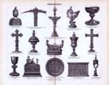 Der Stich aus 1893 zeigt 15 mittelalterliche Objekte der...