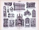 Der Stich aus 1893 zeigt 14 Szenen von Grabmälern aus...