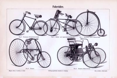 Stich mit 5 verschieden Fahrradtypen aus 1893. Rückseite zeigt technische Abhandlung zum Thema Fahrräder.
