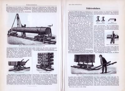 Technische Abhandlung aus 1893 zum Thema Feldeisenbahnen mit zahlreichen Stichen im Text.