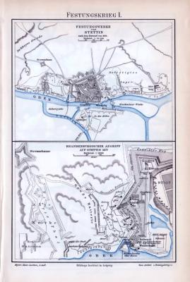 Farbige Lithographie aus dem Jahr 1893 zum Thema Festungskrieg, beidseitige Detailabbildungen.