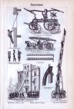 Stich aus 1893 mit Abbildungen zum Thema Feuerschutz und Feuerspritzen.