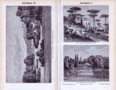 Stiche aus 1893 zeigen verschiedene Gartenanlagen.