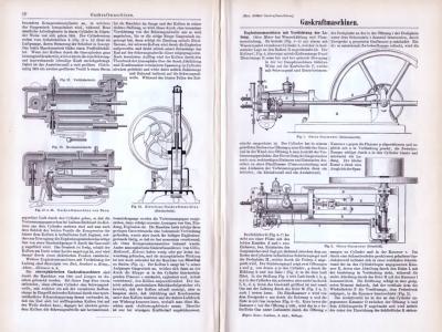Technische Abhandlung aus 1893 mit Stichen zum Thema Gaskraftmaschinen.
