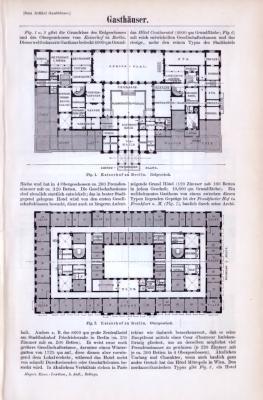 Technische Abhandlung aus 1893 mit Stichen zum Thema Gasthäuser.