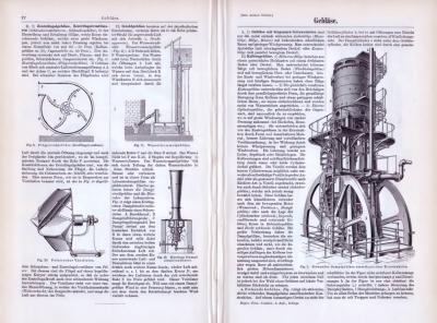 Technische Abhandlung aus 1893 mit Stichem zum Thema Gebläse.