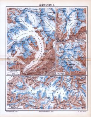 Farbige Lithographie aus 1893 zeigt verschiedene Gletschergebiete.