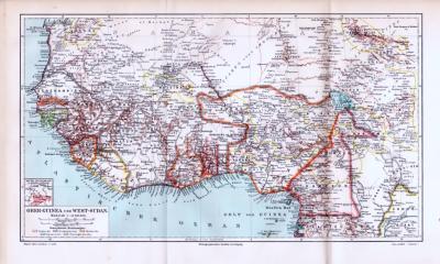 Landkarte von Guinea und Sudan, farbige Lithographie aus 1893.