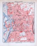 Halle an der Saale Stadtplan, farbige Lithographie aus 1893 im Maßstab 1 zu 15.000.