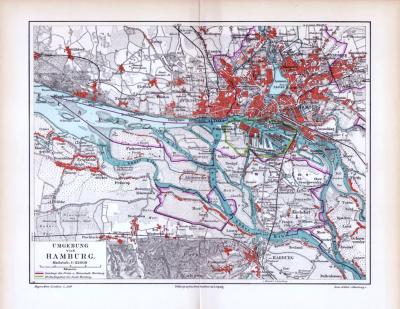 Farbige Lithographie einer Umgebungskarte von Hamburg aus 1893. Maßstab 1 zu 85.000.