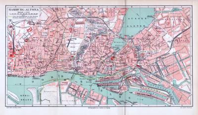 Farbiger Lithographie eines Stadtplans von Hamburg Altona aus 1893. Maßstab 1 zu 17.500.