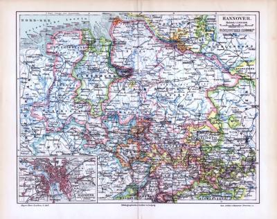 Farbige Lithographie einer Landkarte des Landes Hannover aus 1893. Maßstab 1 zu 1.400.000.