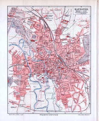 Farbig litographierter Stadtplan von Hannover aus 1893 im Maßstab 1 zu  25.000.