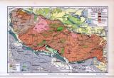 Farbige Illustration einer geologischen Landkarte des Harzes aus dem Jahr 1893.
