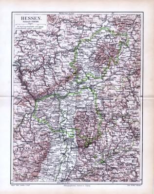Farbige Lithographie einer Landkarte von Hessen aus 1893 im Maßstab 1 zu 850.000.