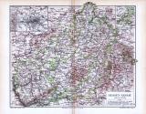 Farbige Lithographie einer Landkarte von Hessen Nassau aus 1893 im Maßstab 1 zu 850.000.