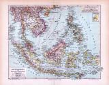 Farbige Lithographie einer Landkarte von Hinterindien und Malaien aus 1893 im Maßstab 1 zu 18.000.000.