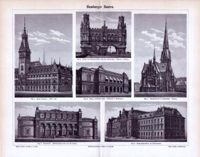 Stich aus dem Jahr 1893 zeigt 6 Ansichten von Hamburger Prachtbauten.