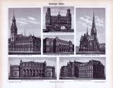 Stich aus dem Jahr 1893 zeigt 6 Ansichten von Hamburger...